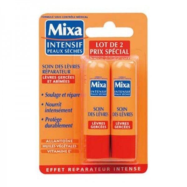 Pack de 2 Baume à Lèvres Soin des Lèvres Réparateur Lèvres Gercées et Abîmées de MIXA  3,99€
