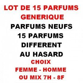Lot de 15 Parfums Générique 100ml au HASARD - Choix Femme - Homme ou Mix 7H - 8F  89,99€