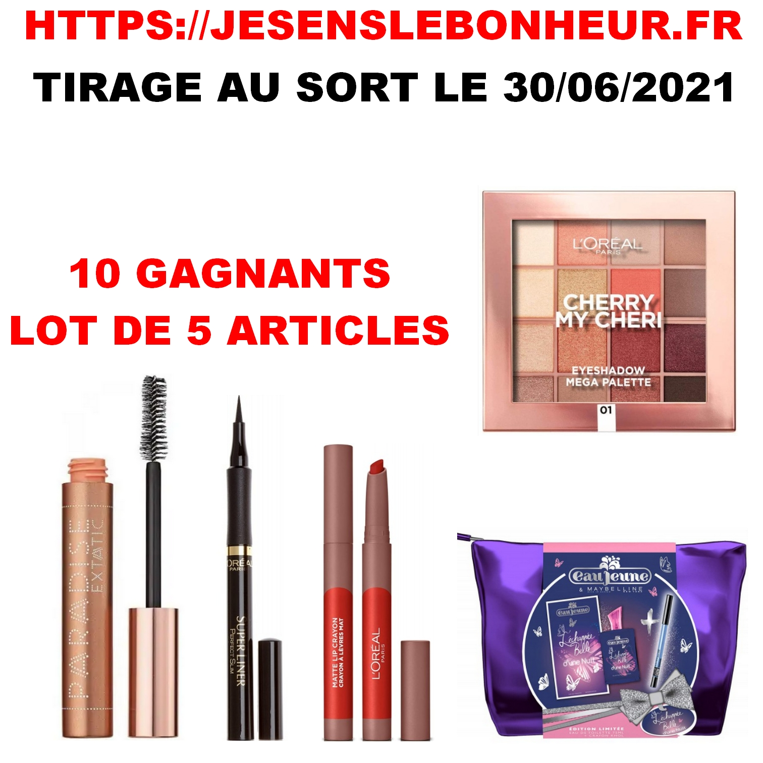 1 LOT DE 5 ARTICLES - 10 GAGNANTS - TIRAGE AU SORT LE 30/06/2021