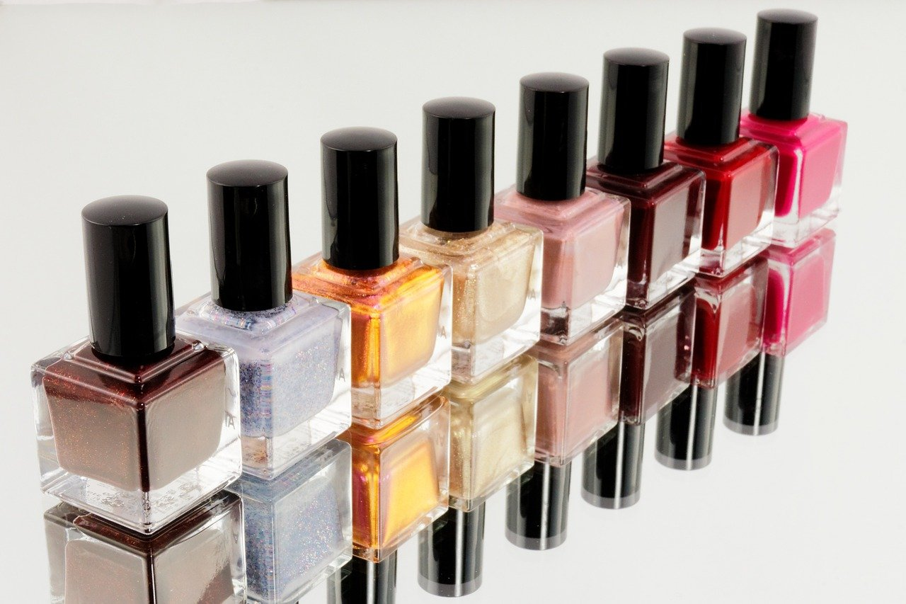Different colors and textures of nail polish